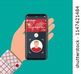 smartphone with payment app...   Shutterstock .eps vector #1147621484