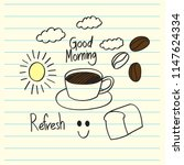 doodle good morning  note book  ... | Shutterstock .eps vector #1147624334
