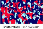 stylized silhouette of crowd of ... | Shutterstock .eps vector #1147627304