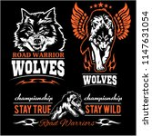 wolves patch   vector set | Shutterstock .eps vector #1147631054