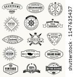 collection of fifteen vintage... | Shutterstock .eps vector #1147635437