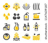 rapeseed and canola oil icon set | Shutterstock .eps vector #1147639187