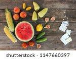 fruits  vegetables  pills on... | Shutterstock . vector #1147660397