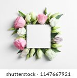 beautiful eustoma flowers and... | Shutterstock . vector #1147667921