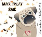little pug sale card. cute pet. ... | Shutterstock .eps vector #1147681091