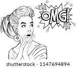 surprised young sexy woman with ... | Shutterstock .eps vector #1147694894