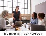 businesswoman addressing female ... | Shutterstock . vector #1147695014