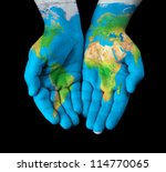 Map Painted On Hands Showing...