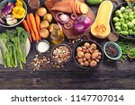 fresh ingredients for healthy...   Shutterstock . vector #1147707014