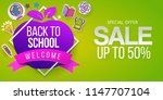 back to school sale with apple... | Shutterstock .eps vector #1147707104
