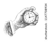 hand holding antique pocket...   Shutterstock .eps vector #1147708934
