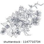 floral composition. bouquet... | Shutterstock .eps vector #1147710734