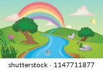 sun and clouds with rainbow... | Shutterstock . vector #1147711877