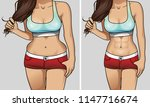 woman's body before and after... | Shutterstock .eps vector #1147716674