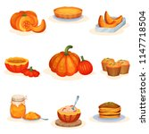 tasty pumpkin dishes set  pie ... | Shutterstock .eps vector #1147718504
