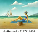 Girl Relaxing At The Beach ...