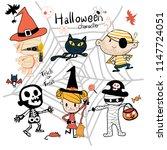 hand drawn halloween trick or... | Shutterstock .eps vector #1147724051