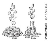 Sketch Of Falling Coins In...