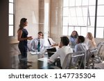 businesswoman addressing... | Shutterstock . vector #1147735304