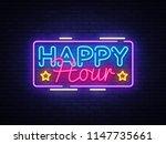 happy hour neon sign design... | Shutterstock . vector #1147735661
