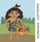 cartoon primitive girl with... | Shutterstock .eps vector #1147745954