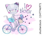 Stock vector cute cat with bird riding a bicycle vector illustration 1147746971