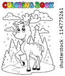coloring book reindeer theme 1  ... | Shutterstock .eps vector #114775261