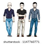 confident handsome men standing ... | Shutterstock .eps vector #1147760771