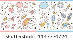 set of doodle sketch pattern.... | Shutterstock .eps vector #1147774724