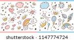 set of doodle sketch pattern.... | Shutterstock .eps vector #1147774724