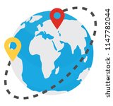 globe surrounded by a track of ... | Shutterstock .eps vector #1147782044