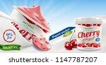cherry greek yogurt packaging... | Shutterstock . vector #1147787207