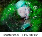 space woman and numerology | Shutterstock . vector #1147789154