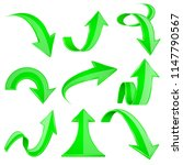 green 3d arrows. bent and... | Shutterstock .eps vector #1147790567