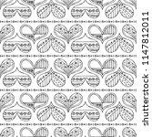 hand drawn seamless pattern ... | Shutterstock . vector #1147812011
