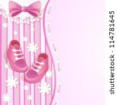 pink baby shower card with baby ... | Shutterstock .eps vector #114781645