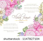floral border with sketch... | Shutterstock .eps vector #1147827104
