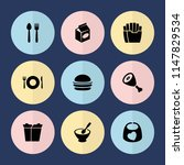 set of 9 lunch filled icons... | Shutterstock .eps vector #1147829534