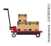 boxes on handtruck   Shutterstock .eps vector #1147831811