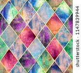 watercolor argyle abstract... | Shutterstock . vector #1147839944