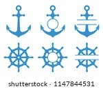 handwheel and anchor icons. sea ... | Shutterstock .eps vector #1147844531