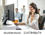 happy smiling female customer... | Shutterstock . vector #1147848674