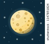 full moon in night sky with... | Shutterstock .eps vector #1147851824