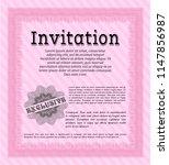 pink retro invitation. printer... | Shutterstock .eps vector #1147856987