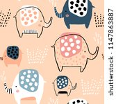 seamless pattern with cute ink... | Shutterstock .eps vector #1147863887