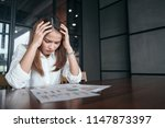 a woman in feeling exhausted... | Shutterstock . vector #1147873397