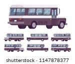 retro bus. single decker black... | Shutterstock .eps vector #1147878377