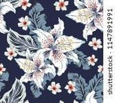 tropical white lily  plumeria... | Shutterstock .eps vector #1147891991