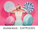 gorgeous girl with  blonde hair ... | Shutterstock . vector #1147912331