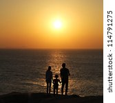 silhouette of happy family... | Shutterstock . vector #114791275